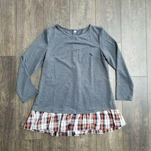 Tops - Long Sleeve Grey Plaid Tunic Top - xl